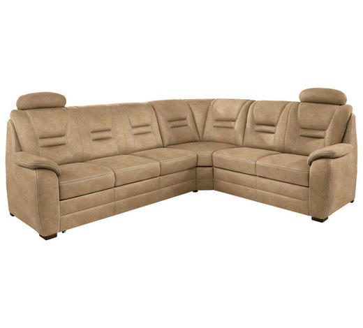 WOHNLANDSCHAFT in Textil Braun - Beige/Braun, KONVENTIONELL, Holz/Textil (286/234cm) - Beldomo Comfort