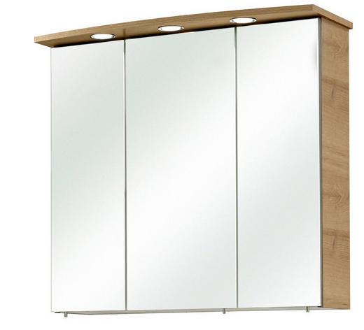 SPIEGELSCHRANK Eichefarben - Chromfarben/Eichefarben, KONVENTIONELL, Glas/Holzwerkstoff (65/72/20cm) - XORA