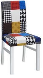 STUHL massiv Multicolor, Weiß - Multicolor/Weiß, LIFESTYLE, Holz/Textil (44,5/94,5/50cm) - CARRYHOME