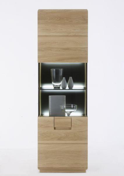 VITRINE Eiche massiv Eichefarben - Eichefarben, Design, Glas/Holz (60/196/40cm) - Linea Natura