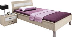 BETT Akazie 90/200 cm - Alufarben/Weiß, Basics, Metall (90/200cm) - Cantus