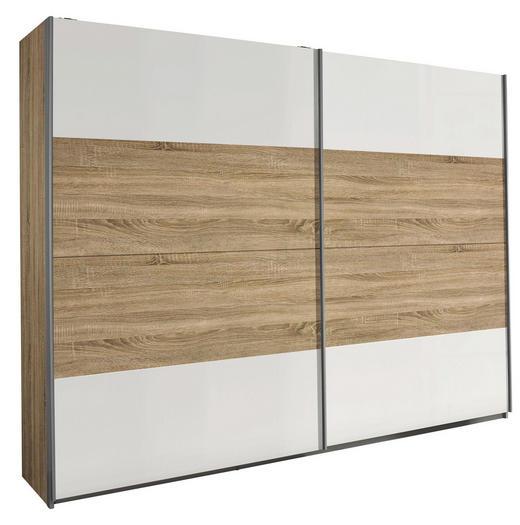 SCHWEBETÜRENSCHRANK in Sonoma Eiche, Weiß - Silberfarben/Weiß, Design, Holzwerkstoff/Metall (226/210/62cm) - Xora