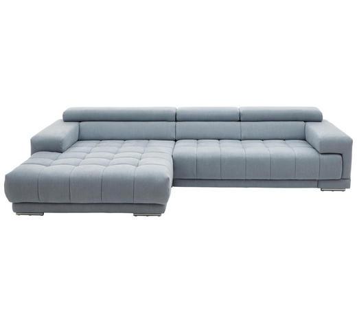 WOHNLANDSCHAFT in Textil Hellblau  - Silberfarben/Hellblau, Design, Textil/Metall (190/335cm) - Beldomo Style