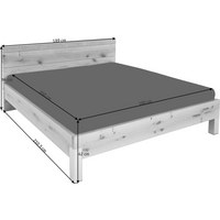 BETT Wildeiche furniert, mehrschichtige Massivholzplatte (Tischlerplatte) 180/200 cm - Edelstahlfarben/Eichefarben, Design, Holz/Metall (180/200cm) - VOGLAUER