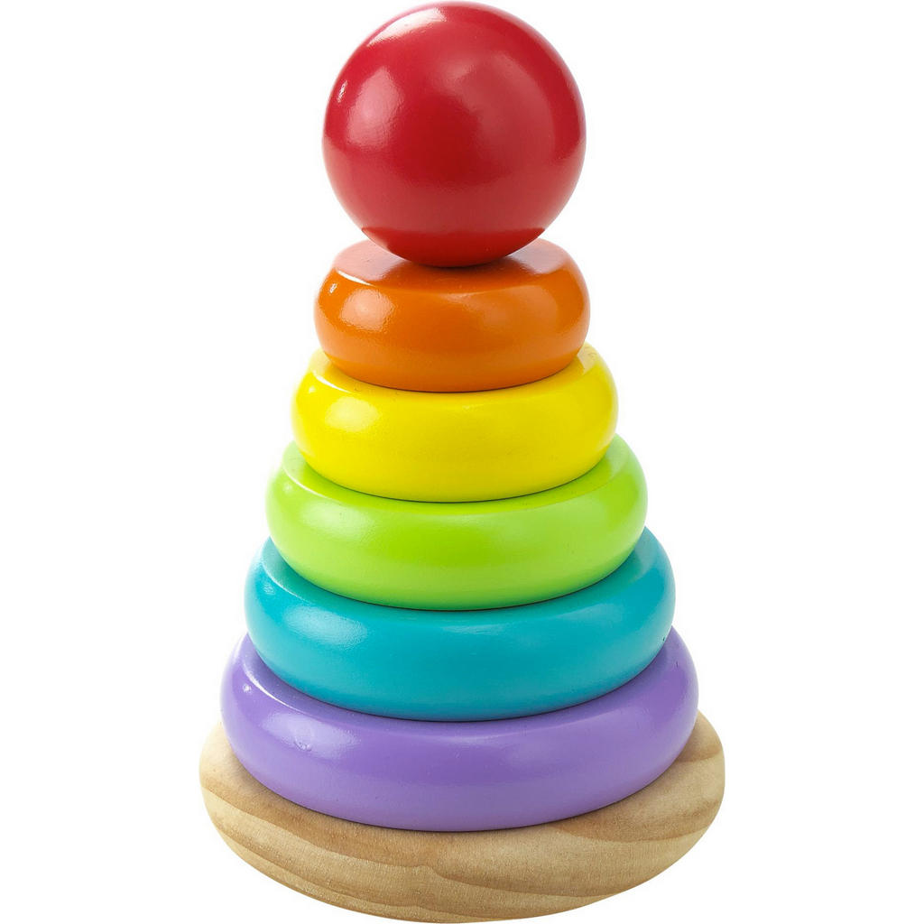 Bunter Stapelturm mit 5 farbenfrohen Ringen aus Buchen- und Kiefernholz von My Baby Lou
