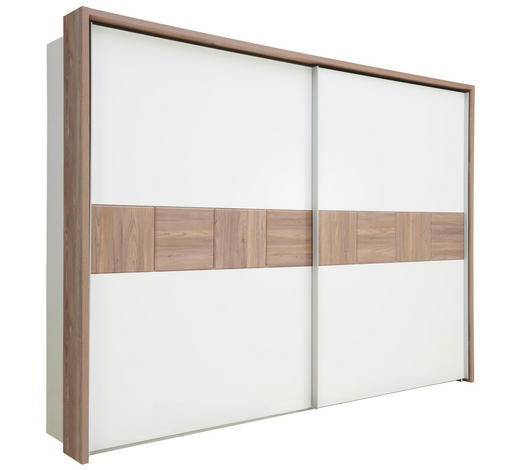 SCHWEBETÜRENSCHRANK in Weiß, Kieferfarben  - Weiß/Kieferfarben, Design, Holzwerkstoff (270/211/61cm) - Carryhome