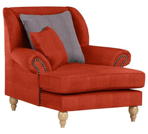 OHRENSESSEL in Textil Rot, Dunkelgrau - Eichefarben/Dunkelgrau, Design, Holz/Textil (115/103/128cm) - Carryhome