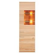 VITRINE in massiv Kernbuche Buchefarben - Buchefarben/Alufarben, Design, Glas/Holz (61/197/41cm) - Venda