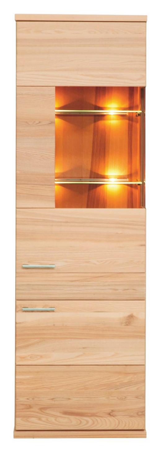 VITRINE Kernbuche massiv Buchefarben - Buchefarben/Alufarben, MODERN, Glas/Holz (61/197/41cm) - Venda