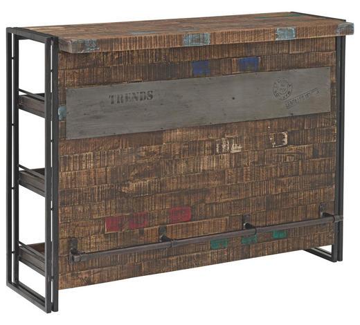 BAR Mangoholz massiv lackiert, gewachst Braun, Schwarz  - Schwarz/Braun, Design, Holz/Metall (140/105/52cm)