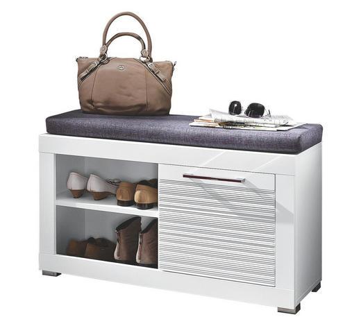 GARDEROBENBANK Webstoff Grau, Weiß - Chromfarben/Silberfarben, Design, Kunststoff/Textil (92/50/37cm) - Carryhome