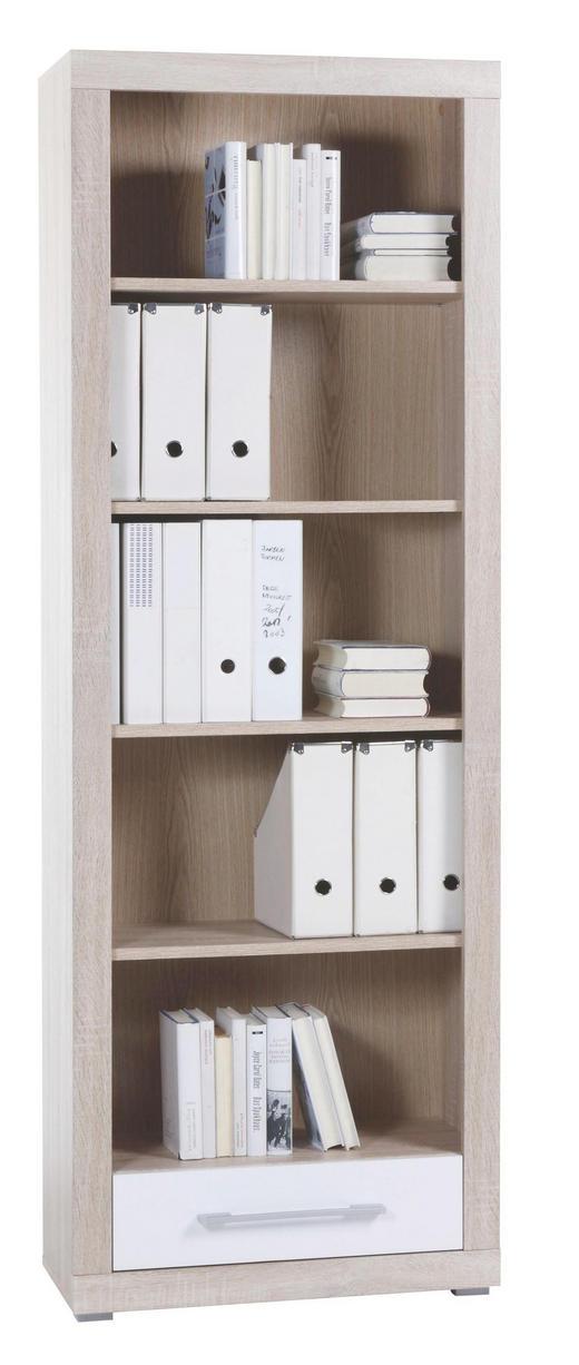 REGAL Sonoma Eiche, Weiß - Alufarben/Weiß, Design, Holz/Kunststoff (68/198/36cm) - Cantus