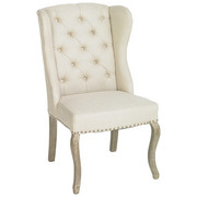 KŘESLO UŠÁK, plochá tkanina, barvy dubu, béžová - šedá/barvy dubu, Trend, dřevo/textil (66/103/73cm) - Ambia Home