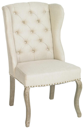 KŘESLO UŠÁK, barvy dubu, béžová, textil - šedá/barvy dubu, Trend, dřevo/textil (66/103/73cm) - AMBIA HOME