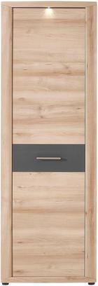 GARDEROBENSCHRANK - Dunkelgrau/Buchefarben, Design, Holzwerkstoff/Metall (68/201/40cm) - VOLEO