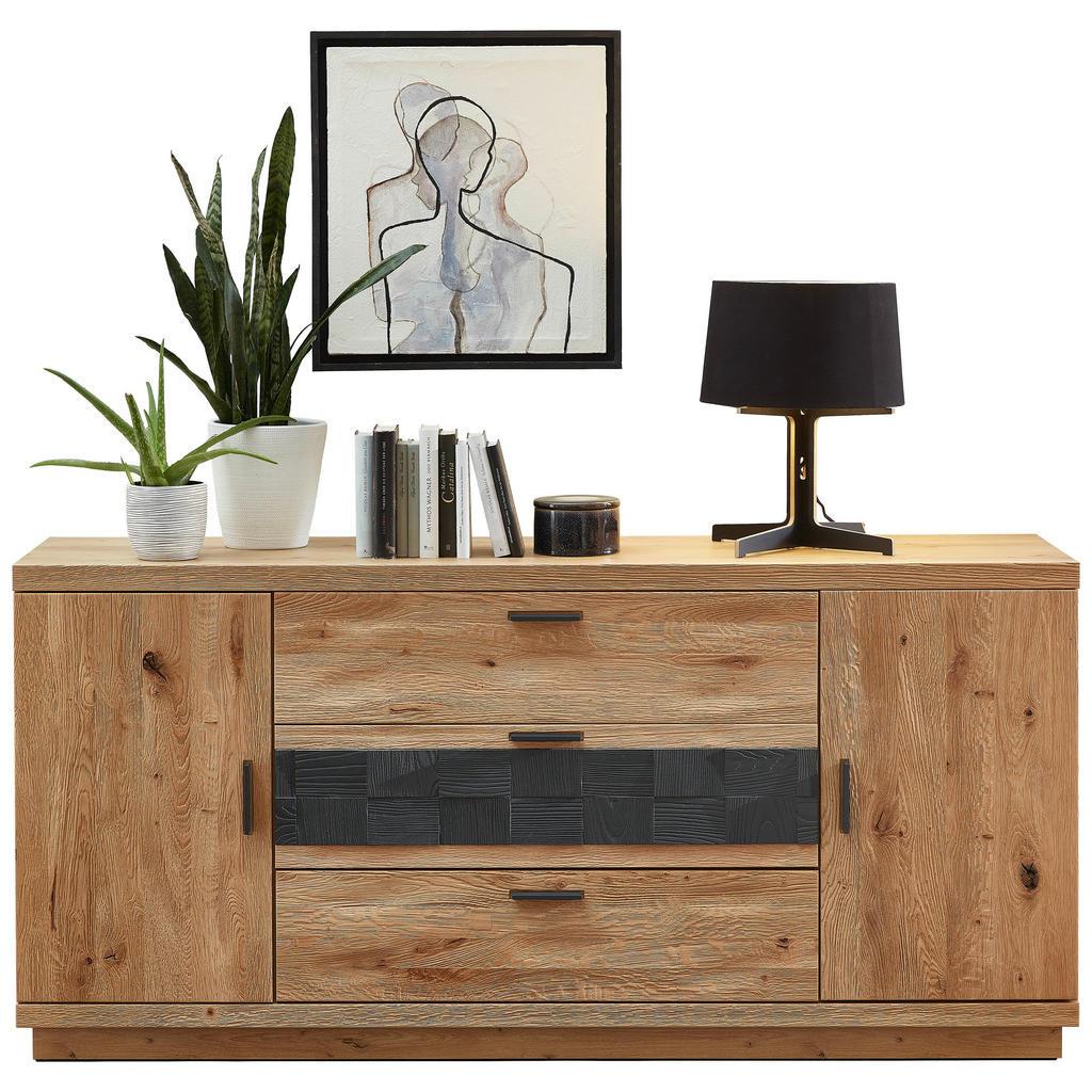 Cantus SIDEBOARD, divoký dub, barvy dubu, tmavě šedá, 180/85/45 cm - barvy dubu, tmavě šedá