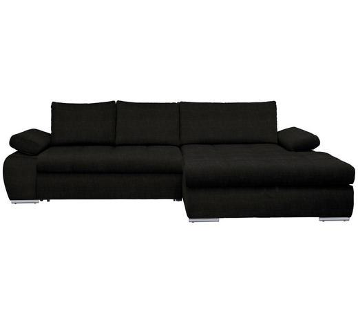 WOHNLANDSCHAFT in Textil Schwarz  - Chromfarben/Schwarz, Design, Kunststoff/Textil (294/173cm) - Carryhome
