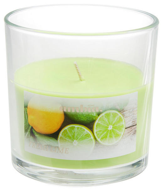 KERZE IM GLAS - Transparent/Hellgrün, Basics, Glas (10/10cm) - Ambia Home