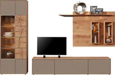 WOHNWAND Kerneiche vollmassiv Eichefarben, Fango - Fango/Eichefarben, Design, Glas/Holz (308/196/49cm) - Valnatura