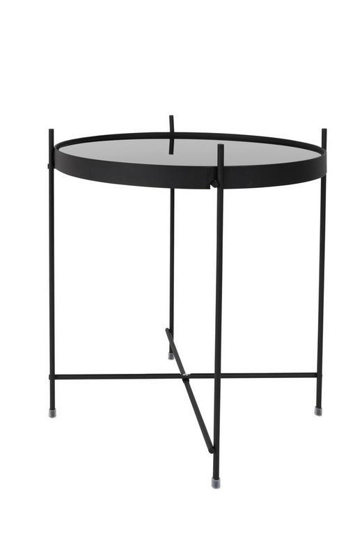 BEISTELLTISCH rund Schwarz - Schwarz, Design, Glas/Metall (43/45cm)