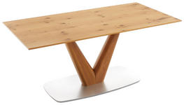 ESSTISCH Wildeiche furniert rechteckig Silberfarben, Eichefarben  - Eichefarben/Silberfarben, Design, Holz/Metall (180/90/76cm) - Ambiente
