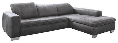 WOHNLANDSCHAFT Grau Mikrofaser - Chromfarben/Beige, Design, Holz/Textil (296/212cm) - Hom`in