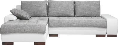 WOHNLANDSCHAFT in Textil Grau, Weiß  - Braun/Weiß, Design, Holz/Textil (198/278cm) - Carryhome
