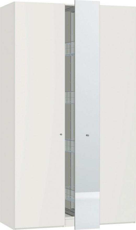 KLEIDERSCHRANK 2  -türig Weiß - Silberfarben/Weiß, Design, Glas/Holzwerkstoff (127/220/59cm) - JUTZLER