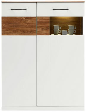 HIGHBOARD - vit/akaciefärgad, Design, träbaserade material (104/137/40cm) - Premium Living