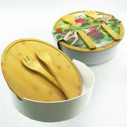 SET ZA SALATU - bijela/prirodne boje, Basics, drvo/plastika (31/10cm)