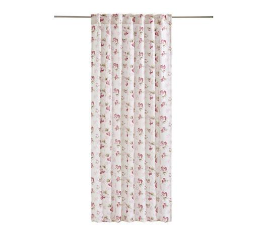 KOMBINOVANÝ ZÁVĚS - bílá/růžová, Trend, textilie (135/245cm) - Landscape