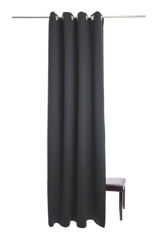 ÖSENSCHAL  Verdunkelung  140/245 cm - Schwarz, Design, Textil (140/245cm)
