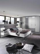 SCHLAFZIMMER Grau, Weiß - Weiß/Grau, Design, Glas/Textil (180 200 cm) - Xora