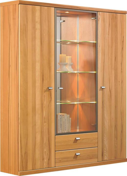 HIGHBOARD Kernbuche furniert, massiv lackiert Buchefarben - Buchefarben/Schwarz, KONVENTIONELL, Glas/Holz (150/184,4/39,1cm) - Invivus