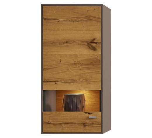 HÄNGEVITRINE  in furniert, Hartholz Balkeneiche Eichefarben, Fango - Chromfarben/Fango, Design, Glas/Holz (51,4/108,2/41,2cm) - Moderano