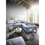 WOHNLANDSCHAFT Blau, Grau Webstoff  - Blau/Schwarz, Design, Kunststoff/Textil (284/284cm) - Carryhome