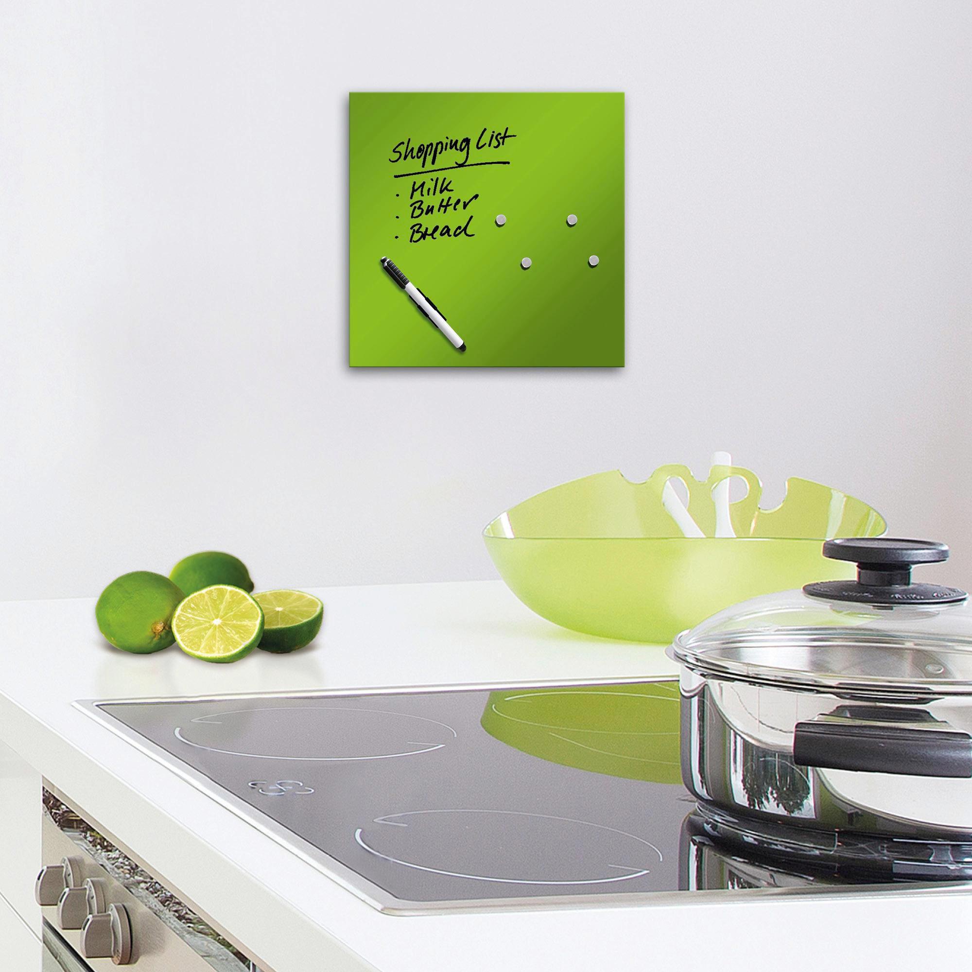 MEMOBOARD - grön, Basics, metall/glas (30/30cm) - EUROGRAPHICS