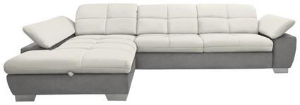 WOHNLANDSCHAFT in Grau, Weiß Textil - Chromfarben/Weiß, Design, Textil/Metall (204/297cm) - Xora