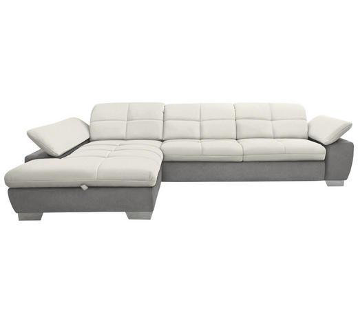 WOHNLANDSCHAFT in Textil Grau, Weiß  - Chromfarben/Weiß, Design, Textil/Metall (204/297cm) - Xora