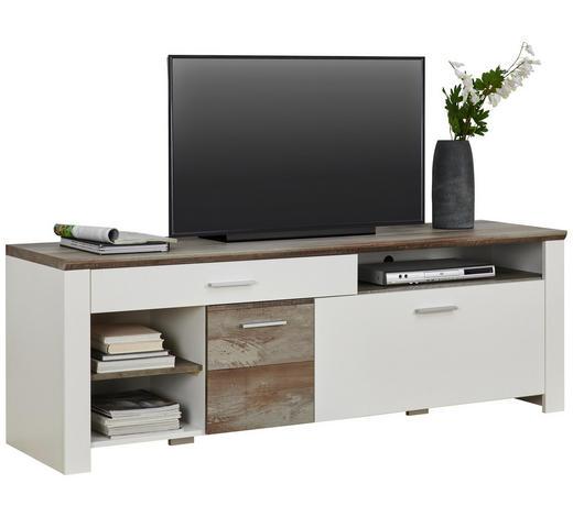 TV DÍL, hnědá, bílá - bílá/barvy chromu, Trend, kompozitní dřevo/umělá hmota (179/61/48cm) - Carryhome