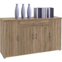 KOMMODE - Eichefarben/Silberfarben, KONVENTIONELL, Holzwerkstoff/Kunststoff (118/70/30cm) - Carryhome