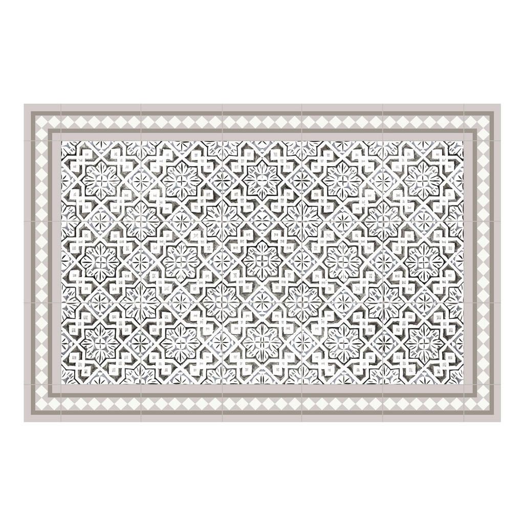 Outdoorteppich , Grau, Weiß, Beige , Kunststoff , Mosaik , rechteckig , 118x180x0.2 cm , für Fußbodenheizung geeignet, rutschfest, wasserabweisend, Hausstauballergiker lichtunempfindlich, strapazierfähig, reißfest, leicht zusammenrollbar , Teppiche & Böden, Teppiche, Flachgewebe-Teppiche