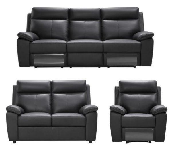 SOFFGRUPP - creme/svart, Klassisk, läder/textil (199/103/99cm) - Xora