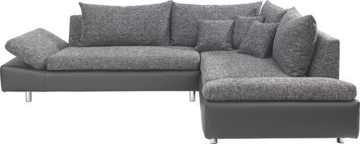 WOHNLANDSCHAFT Lederlook, Webstoff Nierenkissen, Rückenkissen - Chromfarben/Schwarz, Design, Textil/Metall (275/219cm) - Carryhome