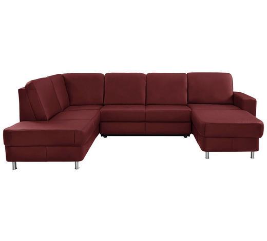 WOHNLANDSCHAFT in Leder Rot - Chromfarben/Rot, Design, Leder/Kunststoff (198/301/167cm) - Xora