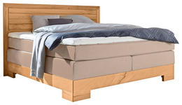 BOXSPRINGBETT Flachgewebe 180/200 cm  INKL. Matratze - Beige/Buchefarben, Design, Holz/Textil (180/200cm) - Linea Natura