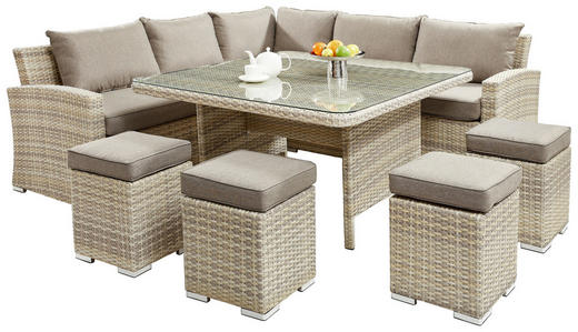 DINING-LOUNGESET Kunststoffgeflecht Aluminium - Taupe/Beige, LIFESTYLE, Glas/Kunststoff (230/230cm) - Amatio