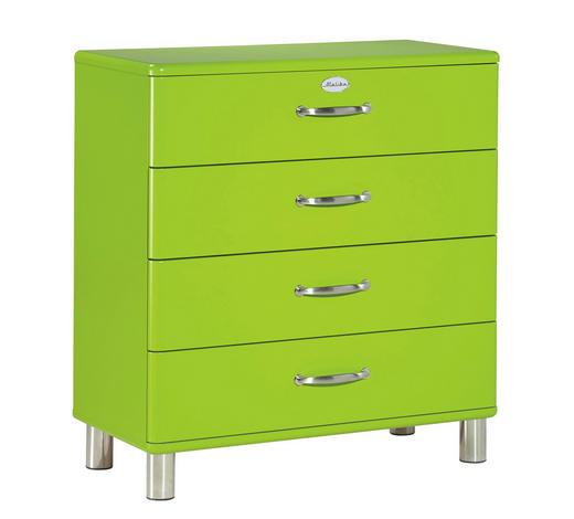 KOMMODE lackiert, Melamin Grün  - Grün/Nickelfarben, Design, Metall (86/92/41cm) - Carryhome