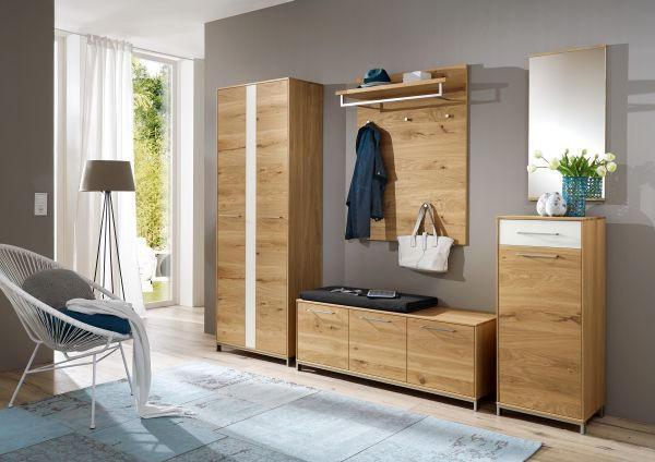 GARDEROBENBANK Balkeneiche, Eiche furniert, teilmassiv Eichefarben - Edelstahlfarben/Eichefarben, Design, Holz/Metall (127/47/40cm)