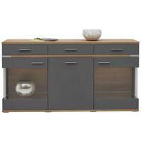 SIDEBOARD matt Graphitfarben, Eichefarben  - Eichefarben/Silberfarben, Design, Glas/Holzwerkstoff (180,1/93,1/41,2cm) - Hom`in